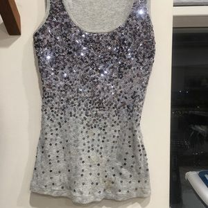 Express sequined tank top grey XXS SMALL